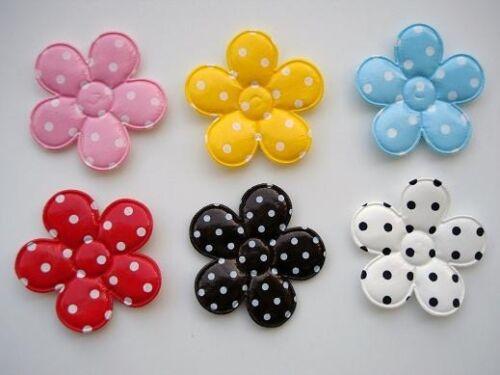 "40 BIG 2"" Flower PVC Applique/polka dot/Sewing/Embellishment/Bow H376-Pick Color"