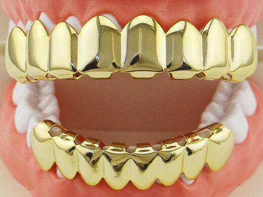 Grillz Dental Grill 18K Gold/Silver Plated 8 Teeth Top & Bot