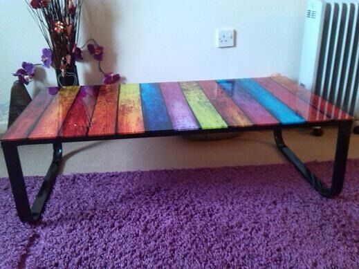 Glass Top Multi Coloured Coffee Table