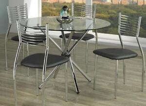 GLASS TOP DINING TABLE SET 4 CHAIRS (T2238)