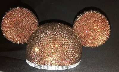 Disneyland Disney Mickey Mouse Hat Ears Rose Gold Custom Bling Rhinestone OOAK