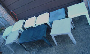 9 Patio small tables,different colors and shapes, 7-$40 or 9-$20