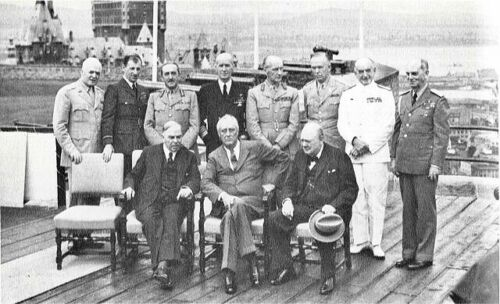 1943 WW 2 PHOTO-Conference -Quebec-President Roosevelt-Winston Churchill-Others