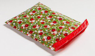 200 10x13 Green Red Christmas Designer Poly Mailers Shipping Envelopes Bags