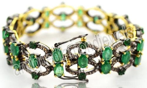 9.75ct Rose Cut Diamond Antique Look 925 Silver Emerald Gemstone Bracelet