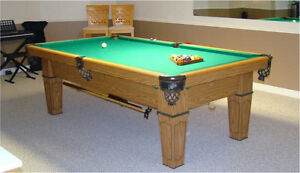 Dufferin pool table - Solid Oak with Leather pockets