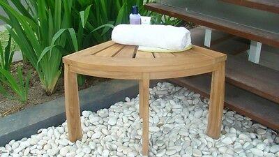 Grade-A Teak Wood Corner Stool Seat Shower Spa Bath Outdoor Bench Garden Patio ()