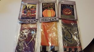 Set of 3 Fall Halloween Double Sided Flags