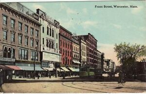 Antique-POSTCARD-c1912-Front-Street-WORCESTER-MA-MASS
