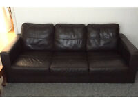 Dark brown leather effect 3 seater sofa