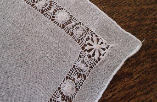 Vintage Pure Linen Hanky Tenerife Needle Lace Bridal Wedding White
