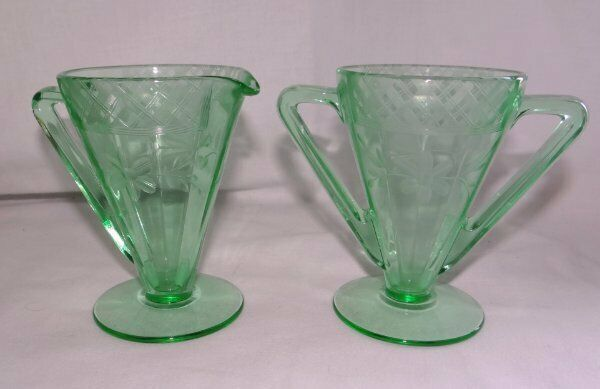 Vintage Paden City Cream and Sugar Green Depression Glass Triumph Etched