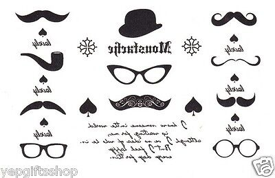 Elegant Black & White Temporary Tattoo - Finger Moustache - Finger Mustache Tattoo