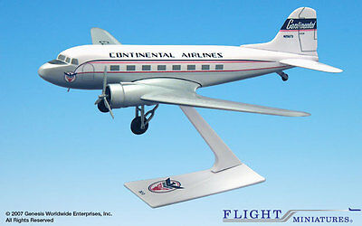 Flight Miniatures Continental Airlines Douglas Dc-3 1:100 Scale Display Model