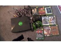 Xbox with controls and 8 games