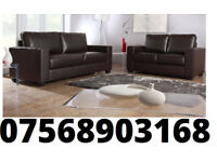 SOFA 3+2 Italian leather sofa brand new black or brown DELIVERED THIS WEEKEND 45309
