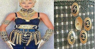 5x Premiere Knöpfe Vintage Chanel 24mm Jacke Mantel - Gold Kostüm Kleid