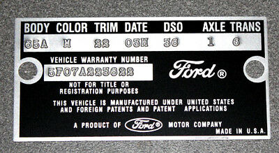 1965 Mustang Falcon Data Plate Stamped with your Paint, Body, Color -
