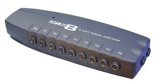 PHILEX 8 WAY TV AERIAL BOOSTER BOX SPLITTER AMPLIFIER, FREEVIEW, HD, 4G READY