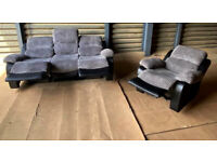Bradley 3 Seater Fabric Recliner Sofa & Chair - Charcoal.