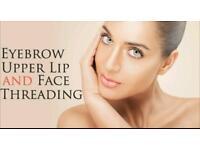 Eye brow upperlips and chin treading
