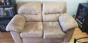 Suede Beige brown 2 piece couch set