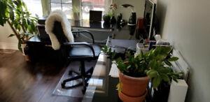 Glass corner desk (Walker Edison Soreno), Jysk Desk, and Chair
