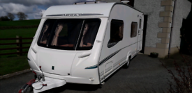 Abbey Aventura 330 6 berth caravan with awning, touring