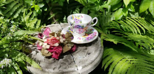 Vintage English Fine Bone China Cup Saucer 'SPRING MELODY'