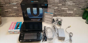Nintendo Wii U Black Game Console Bundle, 2 Remotes, 3 Games