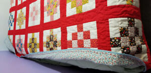 HAND STITCHED PATCHWORK , PATTERNED QUILT, REVERSIBLE