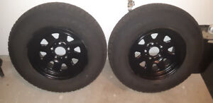 """2 New Goodyear Nordic 215/75/15"""" Winter Tires On Rims."""