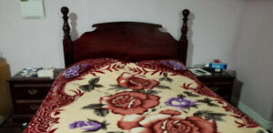 Queen size bed, matching table, side table for $200