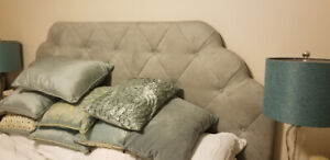King size bed, headboard, night tables, lights and pillows!!!