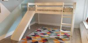 Kids Twin Loft Bed w/ Slide - White Solid Wood - Great Condition