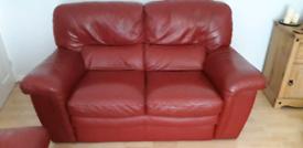 3 piece red leather sisi Italia suite.