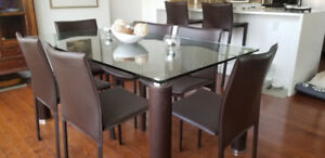 Glass Dining Room Table and 6 Chairs $450 OBO