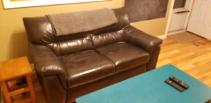 FREE DELIVERY in HRM Dark Brown Genuine Leather Love Seat