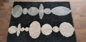 IKEA Hinnerup High Pile Black Grey Beige Area Rug 133 x 195 cm