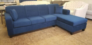 """Brand New Blue Velvet Sectional 110"""" by 70"""" Canadian made- $850"""