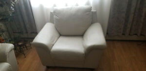 White Genuine Leather Couch Set