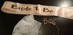 bridal party kit!  veil, sash and tiara for 15$!