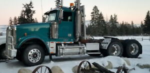 End dump truck and trailer