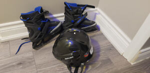 Ice skating shoes and helmet