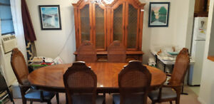 dining room table,6 chairs, hutch - reduced price for quick sale