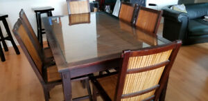 7 piece dining table set: $150 only (wood, glass, bamboo)