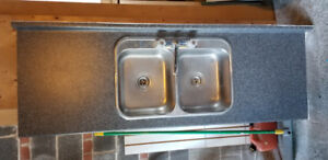 Laminate Counter top with double sink and kitchen tap