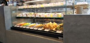 Bakery cases, refrigerated cases, dry cases, butcher displays, O