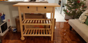Wooden Kitchen Cart (with drawers, shelves and wheels)