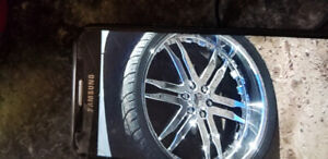 26 inch chrome wheels with new tires /trades